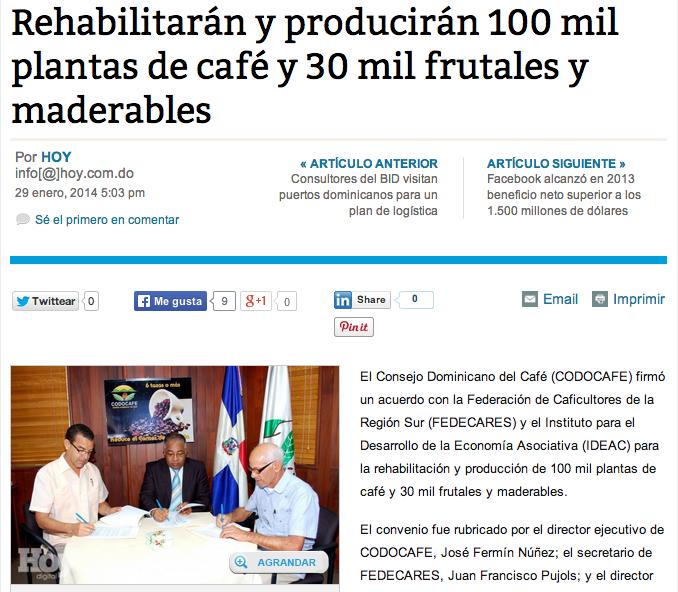 Rehabilitarán y producirán 100 mil plantas de café y 30 mil frutales y maderables