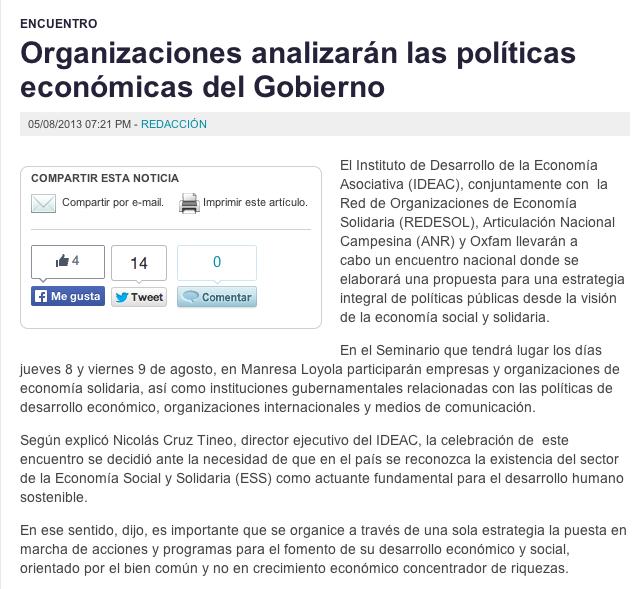 Para leer el artículo completo en El Caribe: Organizaciones analizarán las políticas económicas del Gobierno