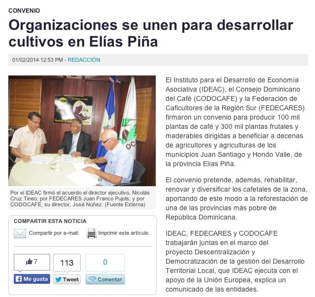 Para leer el artículo completo en El Caribe: Organizaciones se unen para desarrollar cultivos en Elías Piña