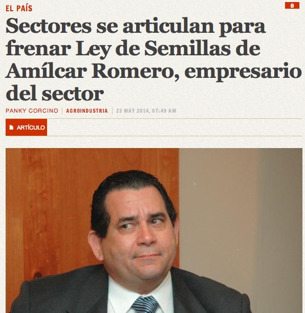Para leer el artículo completo en Acento.com.do: Sectores se articulan para frenar Ley de Semillas de Amílcar Romero, empresario del sector